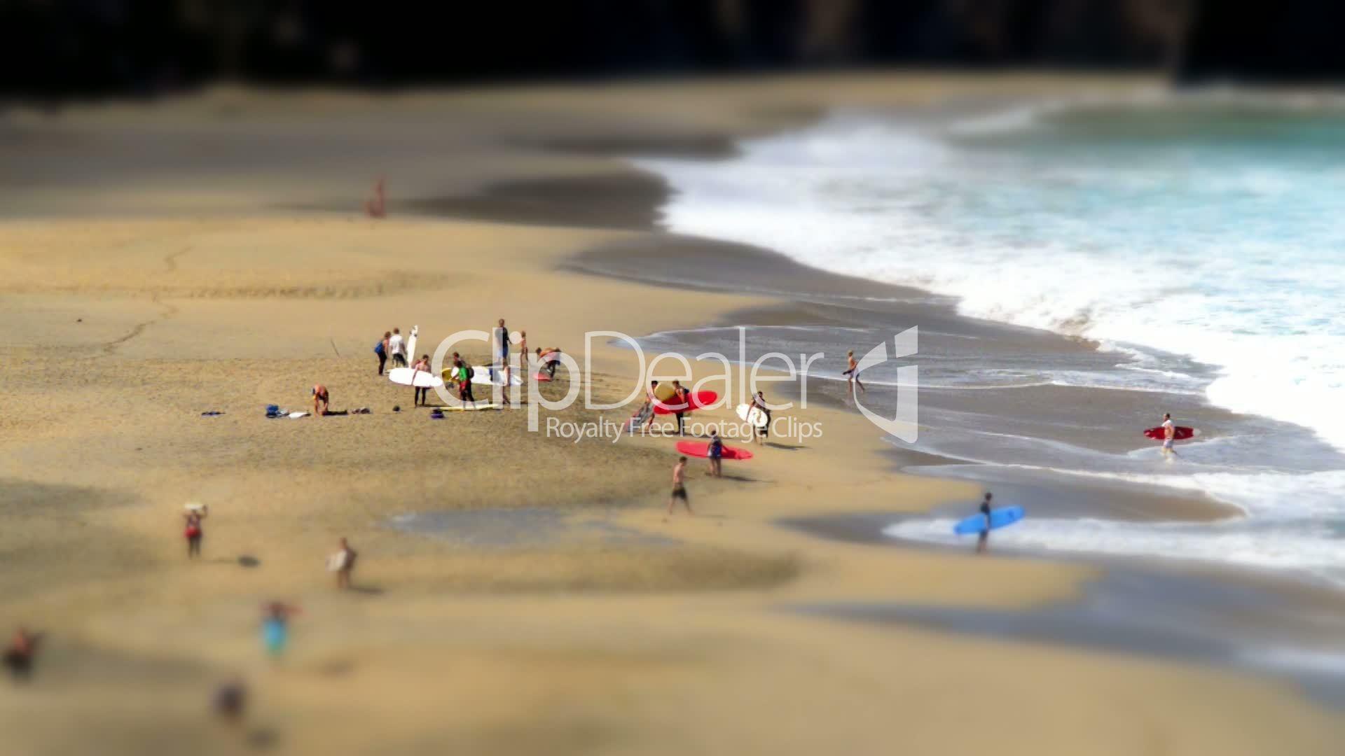 Nude Beach Videos surfer leaving nudist beach tilt shift time lapse 11132