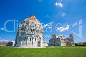 pisa, piazza del duomo with battistero, basilica and the leaning