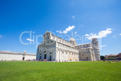 pisa, piazza del duomo, with the basilica and the leaning tower
