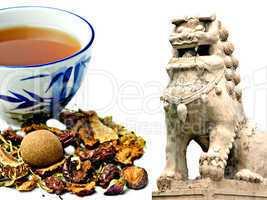 chinesische heilkräuter und tempellöwe