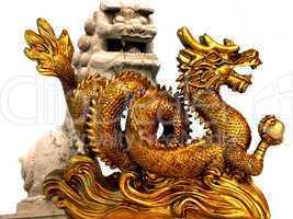feng shui drache mit tempellöwe