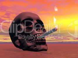 skull smoking a cigarette - 3d render