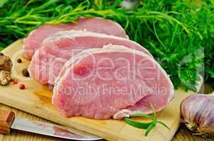 meat pork slices on a board with greens