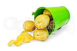 potatoes yellow in a green bucket with chips