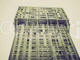vintage sepia torre velasca brutalist architecture milan