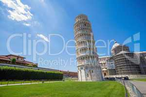 pisa, piazza del duomo, with the basilica leaning tower