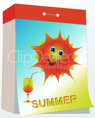 wall tear-off calendar, summer