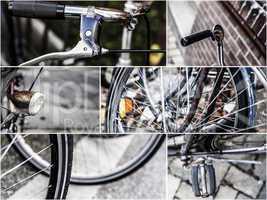 collage mit details von alten fahrrädern
