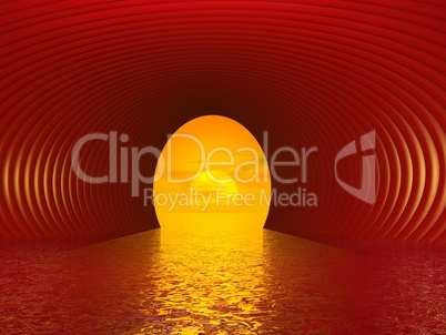 tunnel to the sun - 3d render