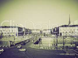vintage sepia piazza vittorio, turin