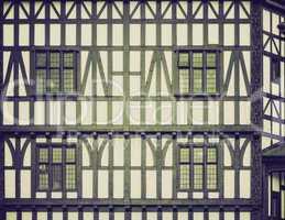 vintage sepia tudor building