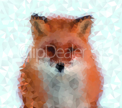 Fox animal portrait made of small triangles illustration.