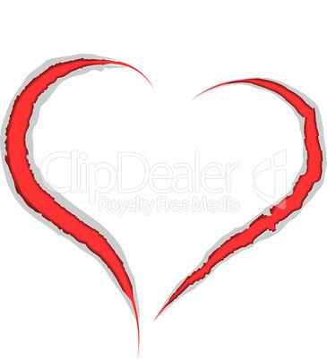 Valentine love heart claws scratch on paper background.