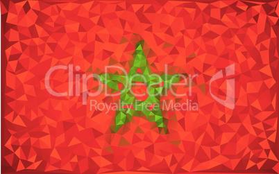 Flag Morocco grunge mosaic geometric pattern banner