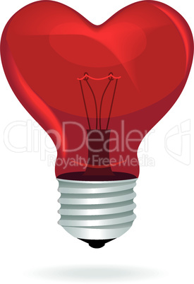 Heart love light bulb vector isolated object.