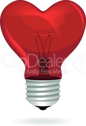 Heart love light bulb vector isolated object.