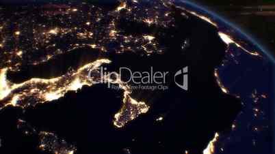 night cities from the satellite. europe. nasa photo. hd 1080.