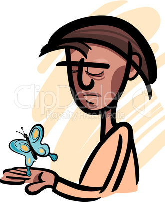 man with butterfly illustration