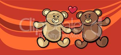 teddy bears in love valentine card