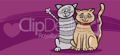 cats couple in love valentine card