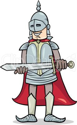 knight with sword cartoon illustration
