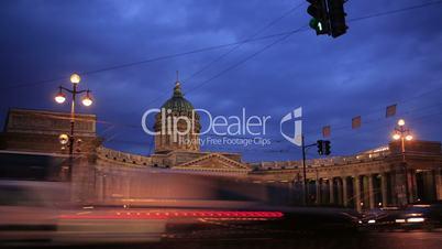 Time lapse  of traffic near Kazan Cathedral.