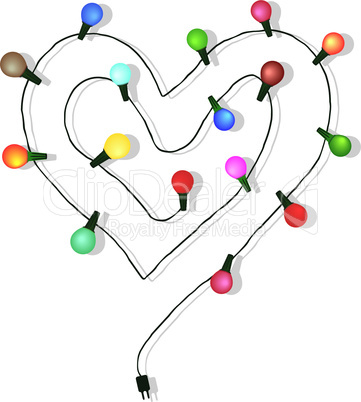 Heart love light bulb wedding vector.