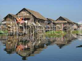 Dörfer am Inle See, Myanmar, Asien