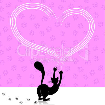 Valentine day cat scratching heart wall with animal paw