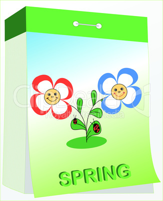 wall tear-off calendar, spring