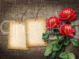 Card for invitation or congratulation with red roses  in vintage style