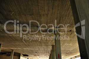 concrete ceiling and pillars in abandoned factory