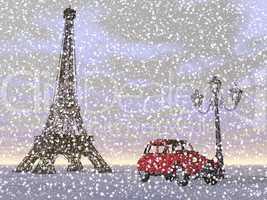 paris in winter, france - 3d render