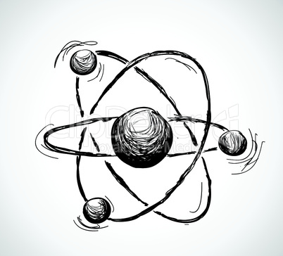 Abstract atom. Hand drawn illustration