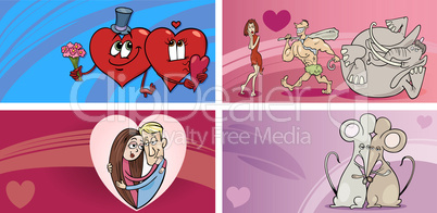 valentine cartoon greeting cards set