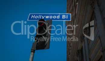 hollywood boulevart street sign