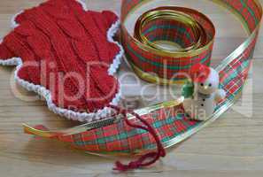 decorative ribbon and santa claus toy  as