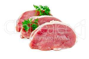 meat pork slices with parsley