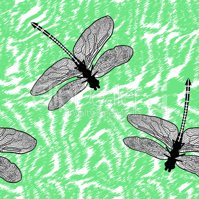 Dragonfly seamless background isolated high quality vector illustration sign.