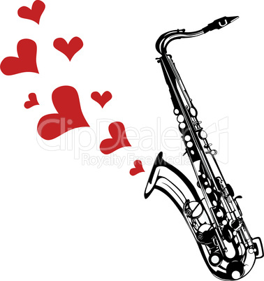 Heart love music saxophone playing a song for valentine