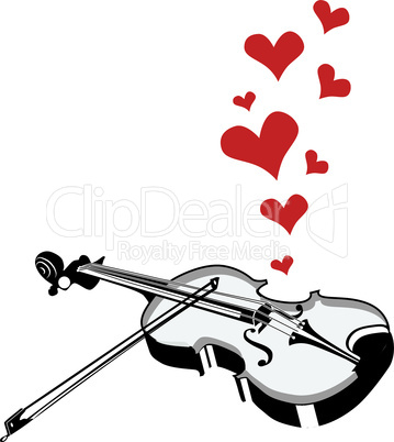 Heart love music violin playing a song for valentine day