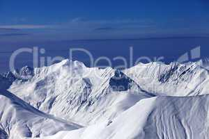 view on off-piste snowy slope at nice day