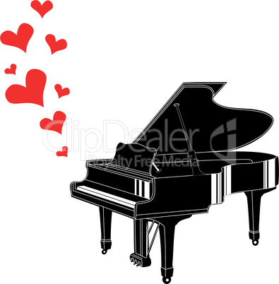 Heart love music piano playing a song for valentine day