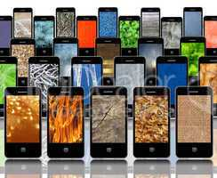 mobile phones with different abstract textures