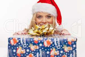 beautiful christmas girl with gift box