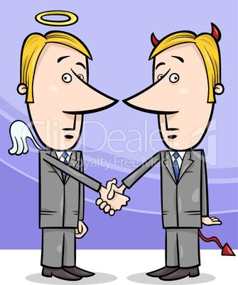 angel and devil businessmen cartoon