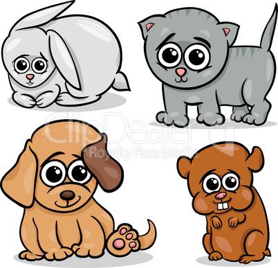 cartoon cute pets animals set