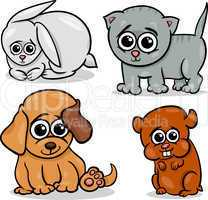 cartoon cute pets animals set
