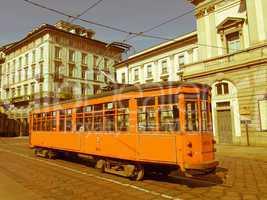 retro looking vintage tram, milan