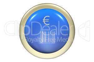 Button Gelbutton mit Eurozeichen und Barcode Strichcode